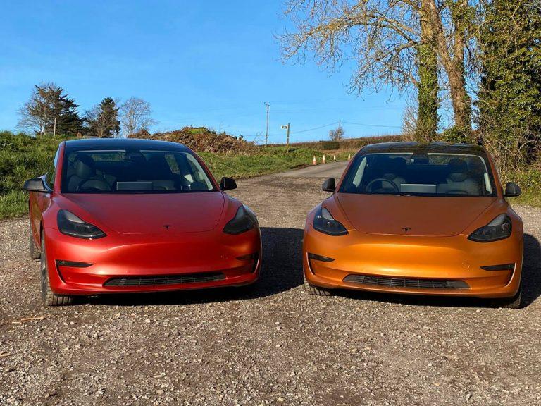 Satin Red Tesla